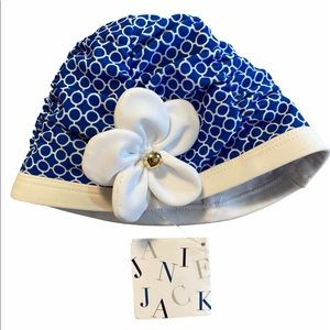 Janie and Jack White & Blue Floral Hat 12-24 mos